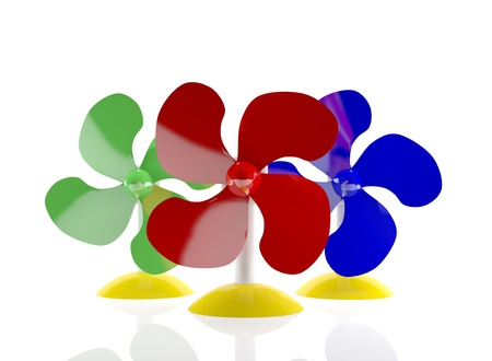 Multi-coloured table fans (3D rendered illustration)