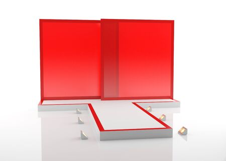 A red fashion podium for advertising
