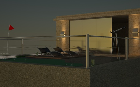3D night render of penthouse Stock Photo