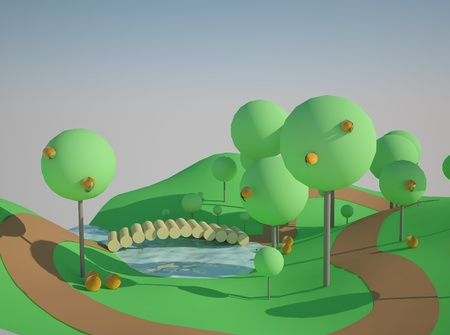 A beautiful fairy tale. Funny cartoon 3D render photo