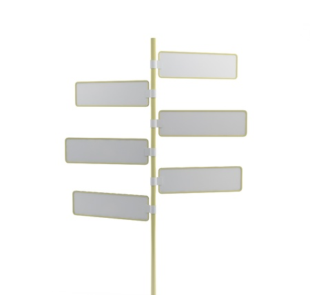 White direction signs - 3D render