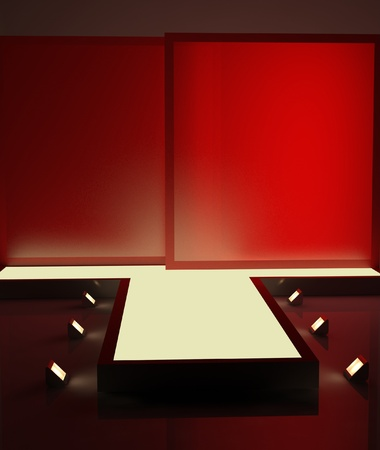 light show: A red fashion podium with lighting for advertising