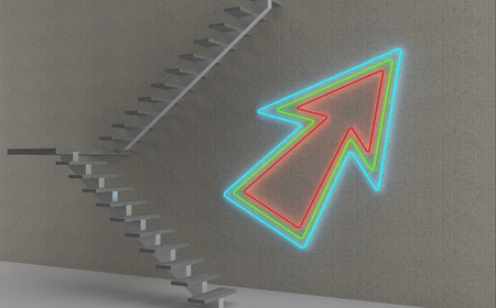 Stairs and neon arrow - 3D render photo