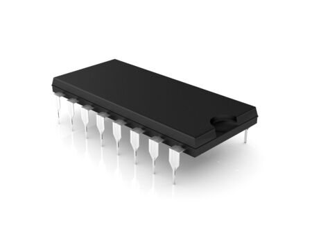 Microchip isolated on white (3d illustration)