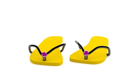Yellow flip-flops isolated on a white background (3D render)