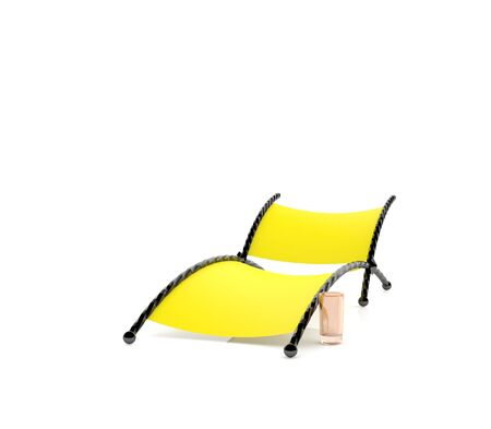 chaise longue: Yellow chaise lounge (3d illustration)