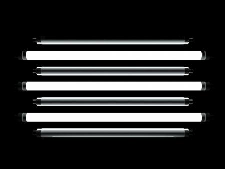 fluorescent lamp: Fluorescent lamp 3d model on black background