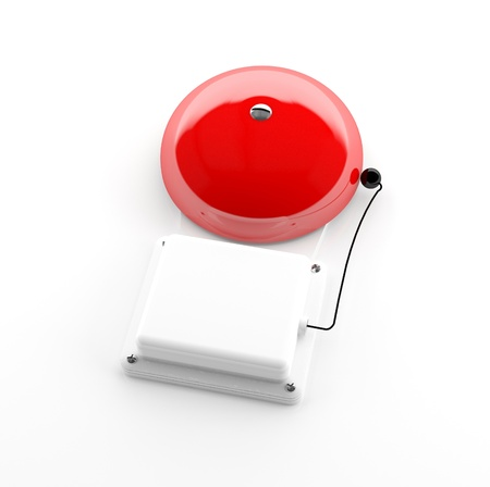 Red alarm bell isolated on white background - 3d model photo