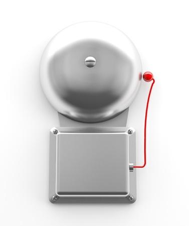 evacuatie: Metallic veilig bell op witte achtergrond (3D-model) Stockfoto