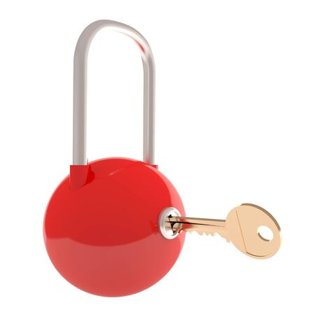 Red lock with key - security concept (3D render) Stock Photo - 10901910