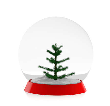 christal: Snow ball with fur tree (3d model) Stock Photo