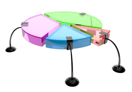 increasing: A colorful pie chart- graph. 3d render illustration