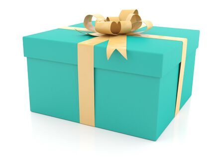 Blue gift box with yellow ribbon on white background photo
