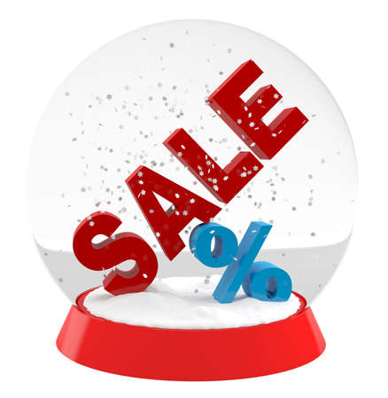 Christmas and New Year sales - 3D snow ball  Stock Photo