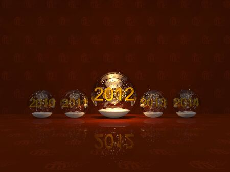 Christmas and New Year snow balls on Christmas background photo