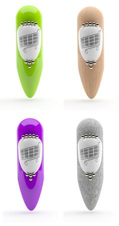 A set of shop icons - 3d model photo