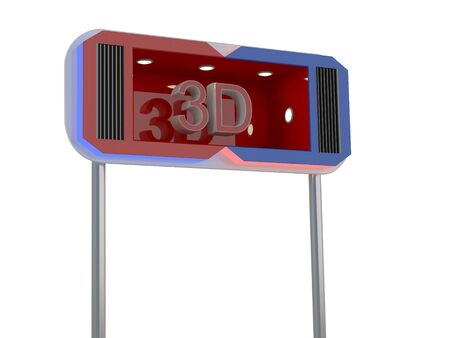 stereoscope: Billboard with red 3d sign Stock Photo