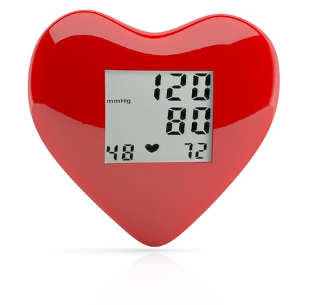 blood pressure monitor: Red heart health. 3D model