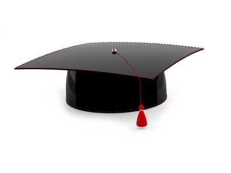 gorros de graduacion: Casquillo de la graduaci�n aisladas sobre fondo blanco. Modelo 3D