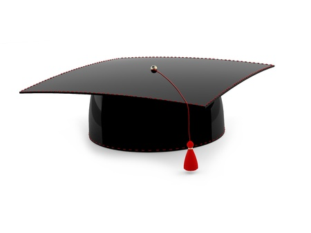 black cap: Graduation cap isolated on white background. 3d model