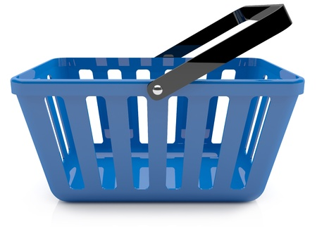 Plastic blue shopping basket. 3D model photo