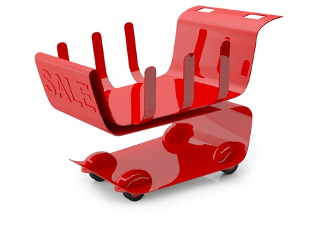 Red shopping cart with sign sale. 3D concept photo
