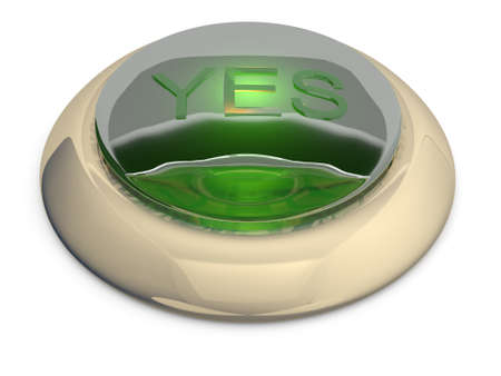 Green button on white background. 3D model Stock Photo - 11066543