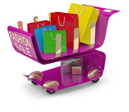 Fashion shopping cart. 3D model photo
