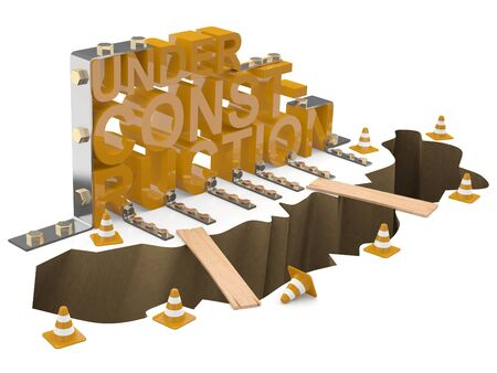 cray: Under construction sign. 3D model on white background Stock Photo
