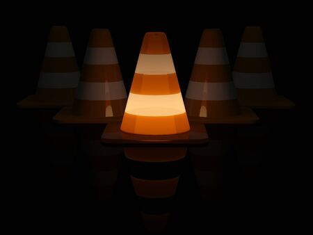 Work in progress. 3d traffic cones. Night render Stock Photo - 11066519