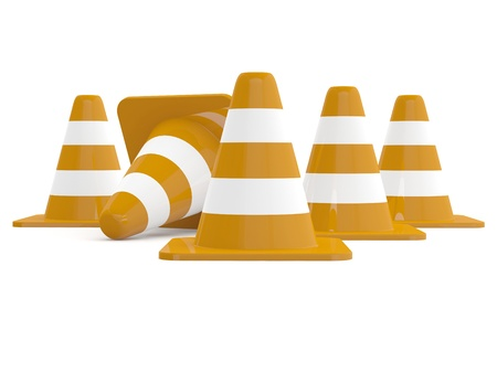 Traffic cones. 3D model isolated on white Stock Photo - 11066541