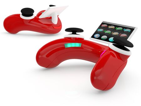 Red video game controller. 3D model Stock Photo - 11066552