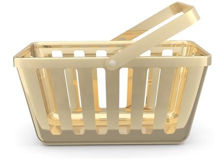 Gold fashion shop basket Stock Photo