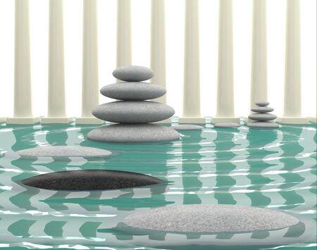 rock salt: Spa treatment. 3D illustration