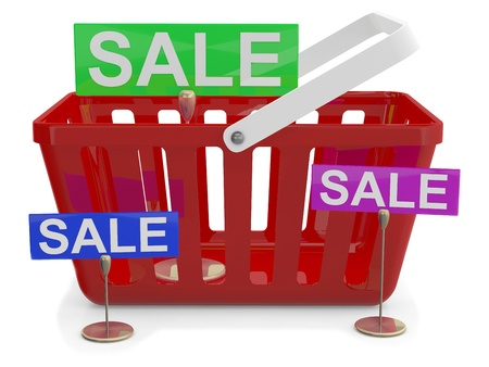 Shopping basket with sign sale. 3D model Stock Photo - 11135210