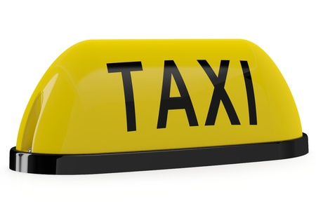 Taxi sign. 3D model isolated on white background photo