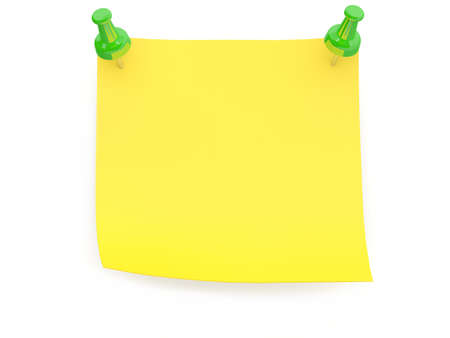 Yellow paper note. 3D model isolated on white photo