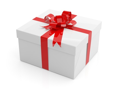 Gift box with red ribbon on white background. 3D model photo