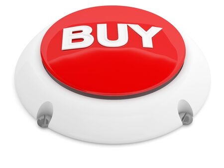 Buy button. Red 3D model isolated on white background photo
