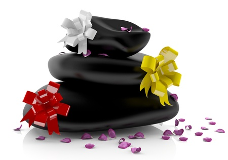 Zen spa stones with flower petals and bows - 3d model photo