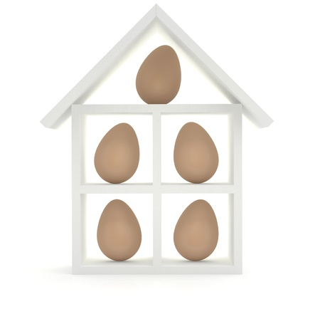 Five eggs in the model of house. 3D model