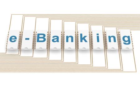 icon 3d: E-banking icon. 3D illustartion on white background