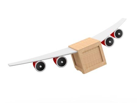 배달 개념. 비행기 날개를 가진 3D 상자