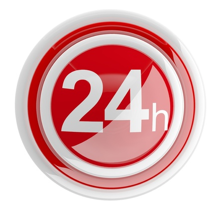 24 hour: 24 hours. 3D icon isolated on white