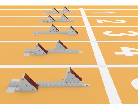 Starting blocks in track and field. 3D model Stock Photo