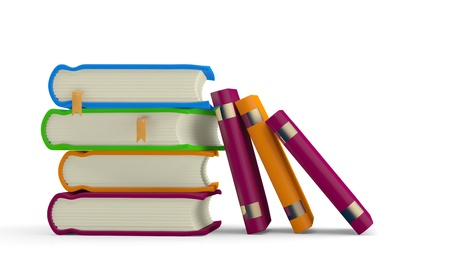book spine: Books pile isolated on white. 3D model