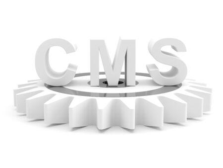 cms: CMS : content management system concept. 3D model  Stock Photo