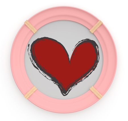 Frame with heart. 3D model Stock Photo - 11808352