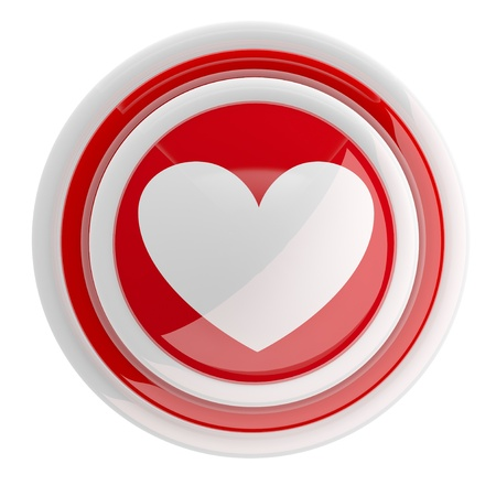 Heart button. 3d model isolated on white Stock Photo - 11808354