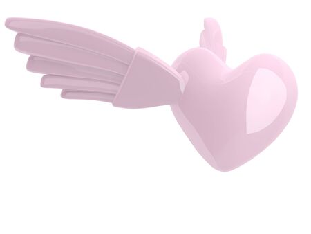 Heart with wings. 3D love icon Stock Photo